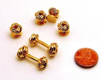 Elegant Unisex Cufflinks and Stud Set: Eternity Knot Design - Heavy Gold Plate