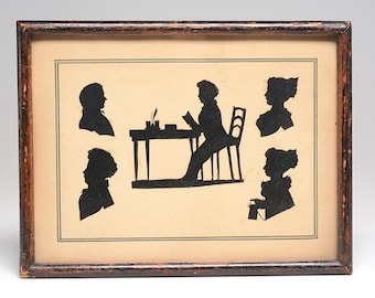 19th Century Family Silhouette Portrait:  Five Figures Rendered in Excellent Detail