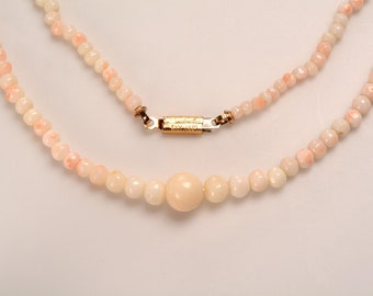 Pink, Blush and/or Angel Skin CORAL Necklace - 22 inches long: circa 1930's