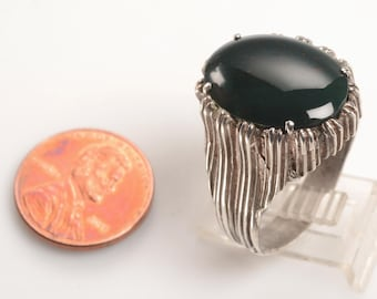 Show Stopping Unisex Silver and Bloodstone RING:  Handmade