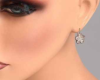 Rose Cut French Paste Pierced Earrings - gold and silver - Georgian