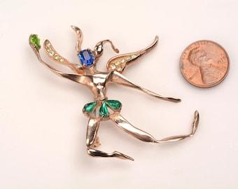 Sparkling Gold Vermeil Winged Dancer Brooch