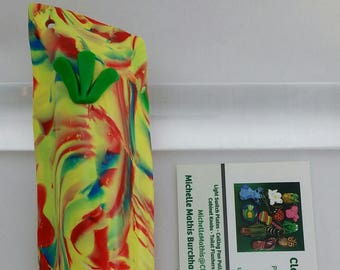 Mezuzah - Yellow Red Green and Blue Marbledl  (#259)