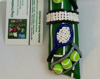 Tennis Mezuzah Handmade from Polymer Clay