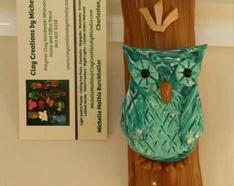 Owl Teal Mezuzah
