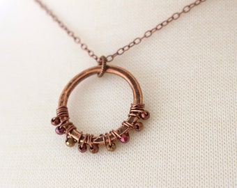 Wire wrapped copper hoop necklace