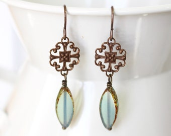 Aqua spindle and antique brass filigree earrings
