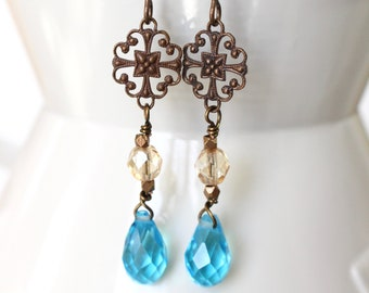 Aqua teardrop and antique brass filigree earrings