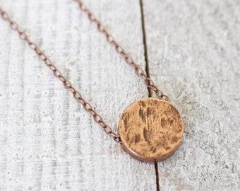 Antique copper flat circle bead on antique copper chain necklace