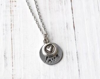 Amour et Collier coeur, collier fabriquées à la main, bijoux coeur, amour bijoux, Collier coeur, collier d'amour, cadeau pour amie