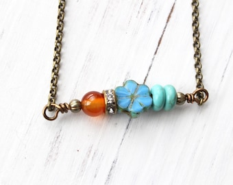 Blue flower necklace, orange and blue necklace, vintage style necklace, boho style, bohemian style, nature necklace