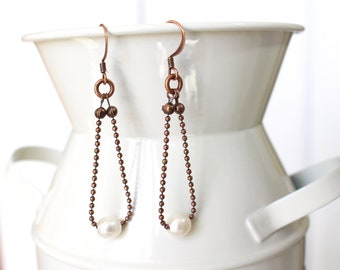 Pearl and copper ball chain earrings