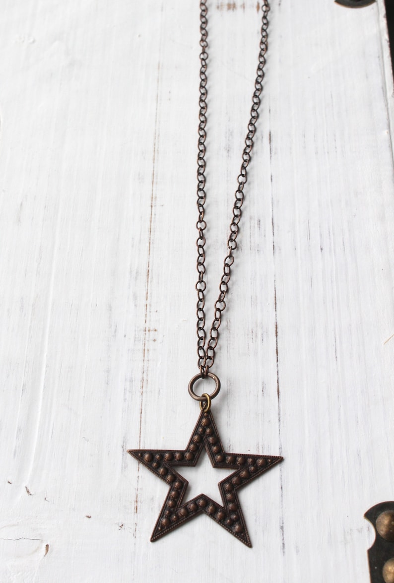 long necklace Christmas necklace Bronze star necklace antique brass star necklace holiday necklace