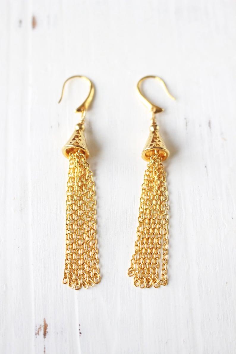 Gold tassel earrings gold chain tassels image 0