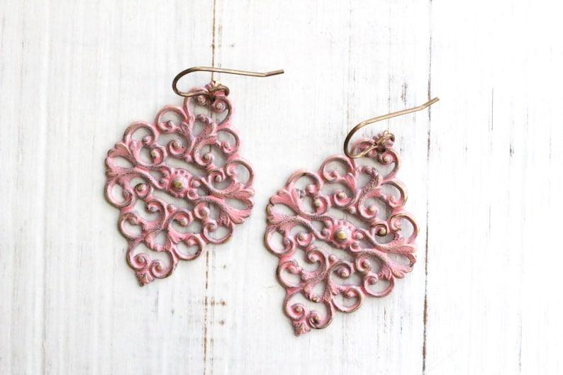 Pink filigree earrings pink dangly earrings bohemian image 0