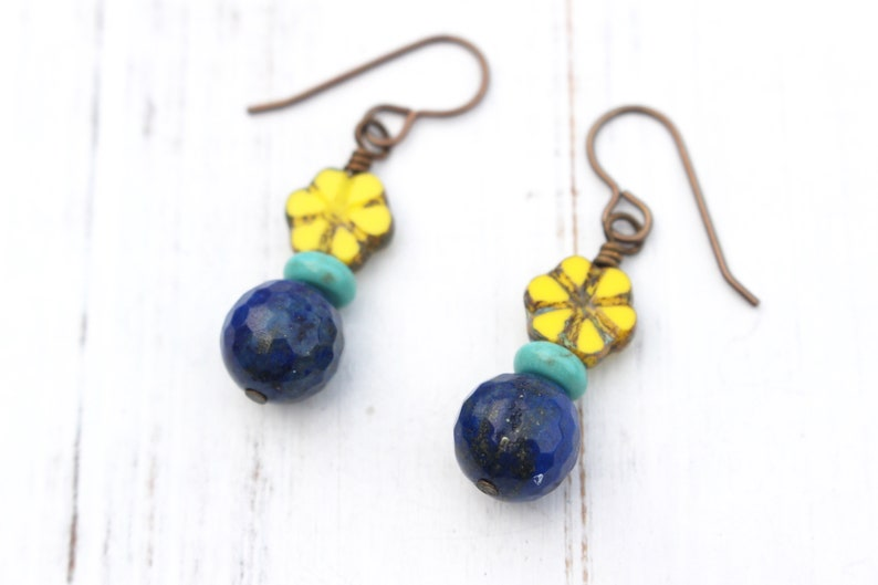 Blue and yellow flower earrings image 0