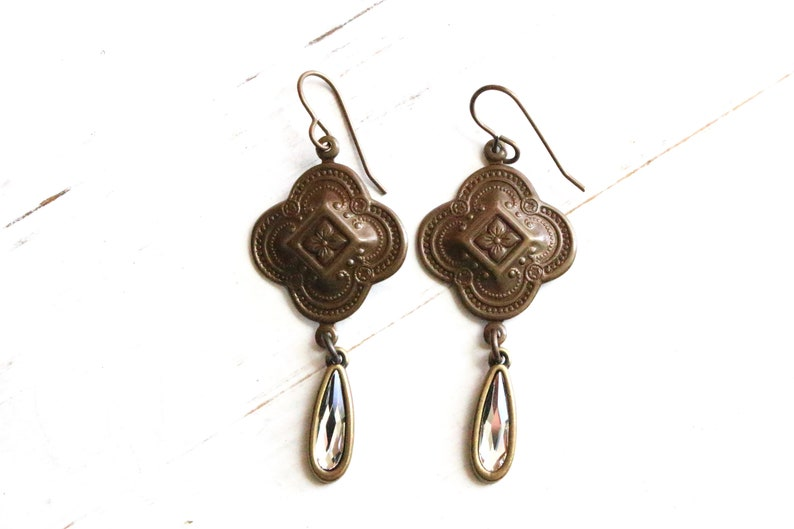 Antique brass Bangalore charms with crystal teardrops earrings image 0
