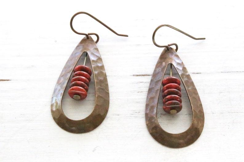 Red and bronze teardrop earrings Vintaj brass earrings Czech image 0