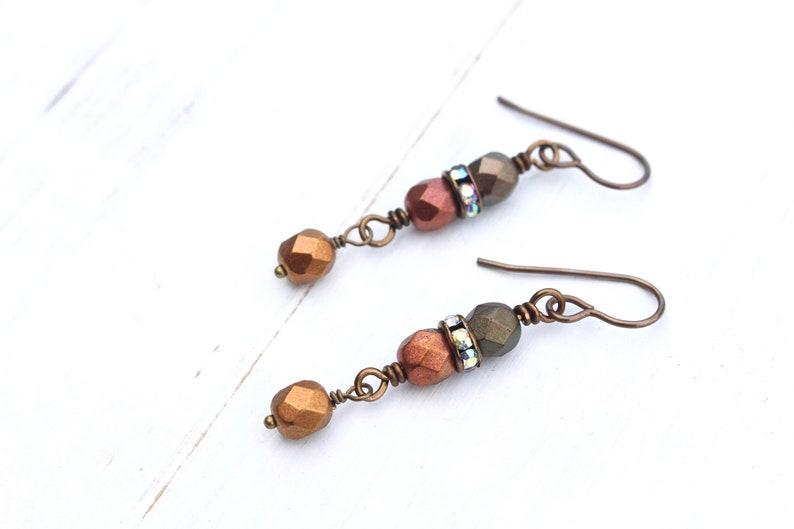 Matte metallic Czech beads earrings image 0