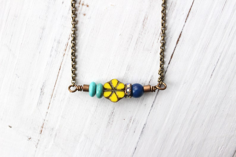 Yellow flower necklace yellow and blue necklace vintage image 0