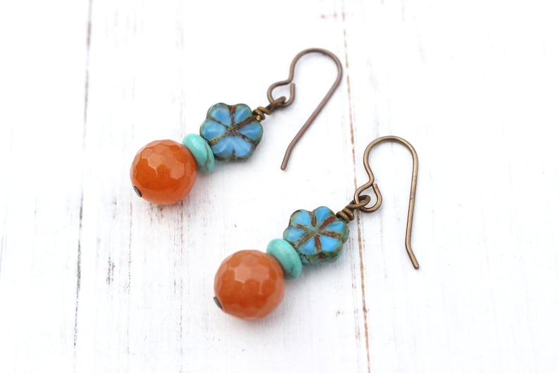 Orange and blue flower earrings image 0