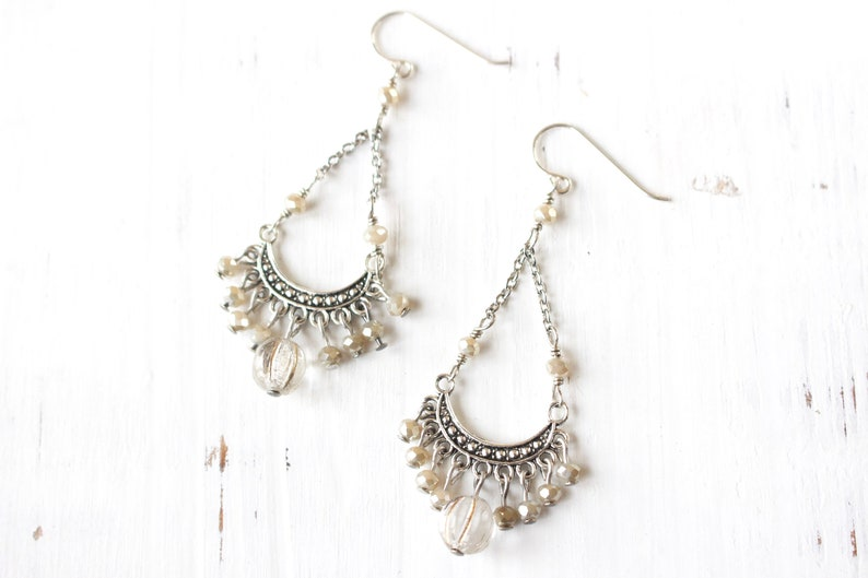 Crystal and silver chandelier earrings image 0