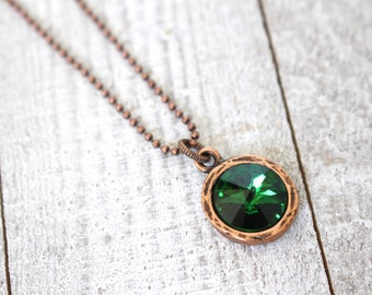Green crystal and copper necklace on ball chain