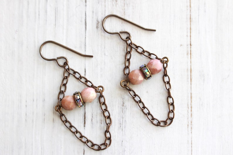 Antiqued brass chain and pink trapeze earrings image 0
