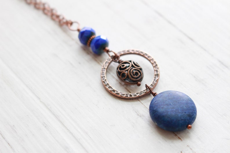 Navy and Copper Necklace Long Navy Necklace Long Chain image 0