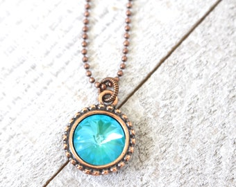 Turquoise crystal and copper necklace on ball chain