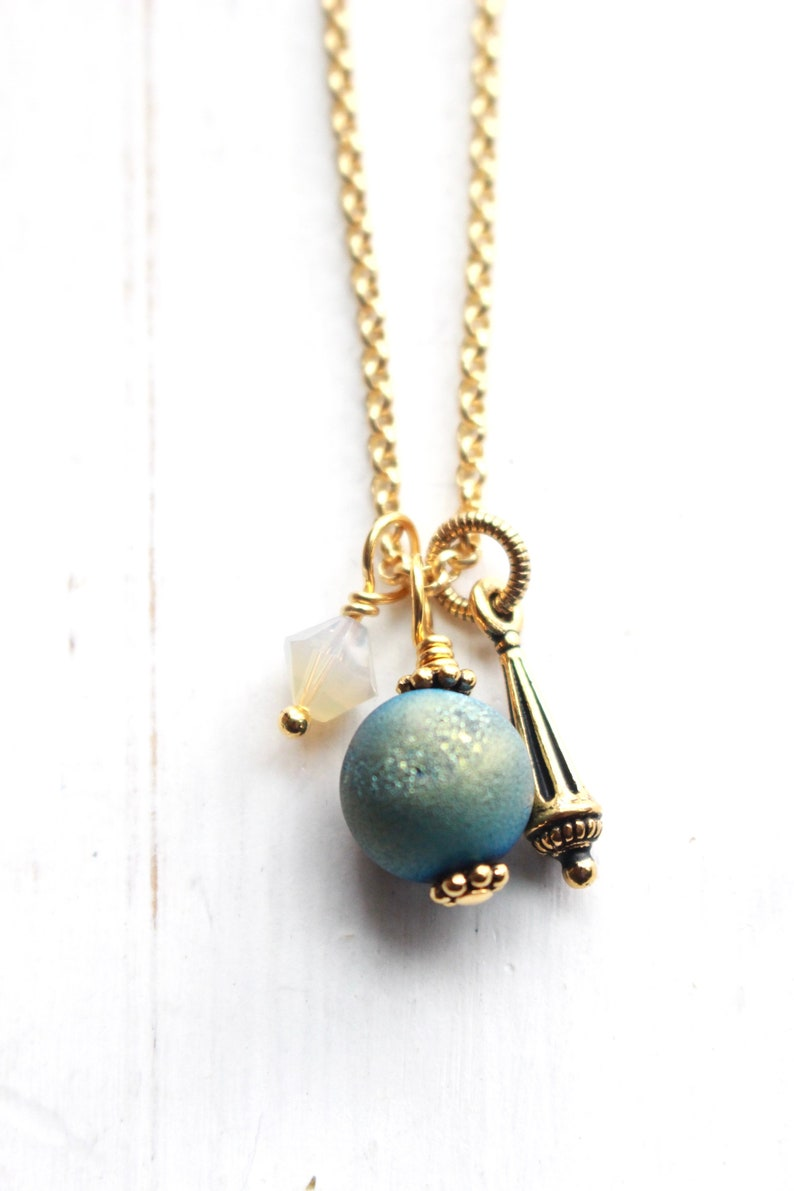 Gold necklace with druzy charm and Swarovski crystal gold and image 0