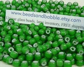 6/0 Transparent Green White Heart Czech Glass Seed Beads 20 Grams (CS206)