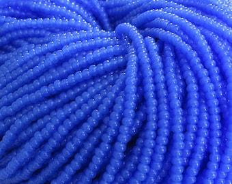 8/0 Blue Opal Czech Glass Seed Bead Strand (CW60) SE