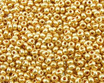 6/0 Metallic Gold Czech Glass Seed Beads 20 Grams (CS28) SE