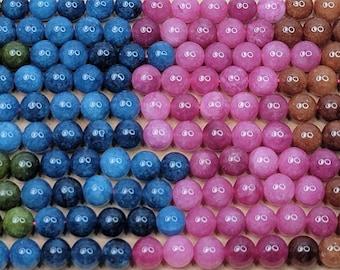 Mixed Natural Tourmaline Dyed Gemstone Beads - 10mm Round - 15 Inch Strand (GEM44)