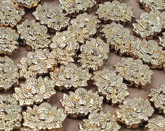 12x9x4mm Gold Plated Brass Lotus Beads - Qty 6 (MB374)