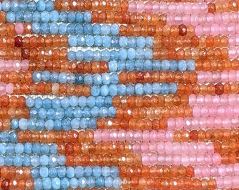 Natural Jade Pink/Blue/Amber Mixed Dyed Gemstone Beads - 4x2mm Faceted Rondelles - 14 Inch Strand (GEM36)