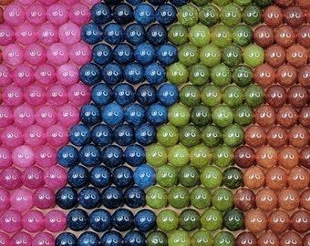 Mixed Natural Tourmaline Dyed Gemstone Beads - 8mm Round - 15 Inch Strand (GEM43)