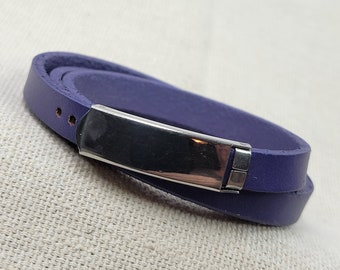 8mm Soft Pliable Light Purple Flat Leather Wrap Bracelet with attached Adjustable Closure - Qty 1 (LC29)