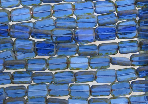 10 12 x 8 mm Polished Rectangles Milky Sapphire Picasso