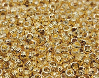 Large 3.5mm ID Hole 7x3.5mm Bright Gold Decorative Rondell Alloy Metal Beads - Qty 50 (MB378)