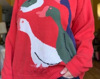 SALE** Vintage wool knit cardigan folklore sky trees swans waves 1990s 90s 1980s 80s **SALE