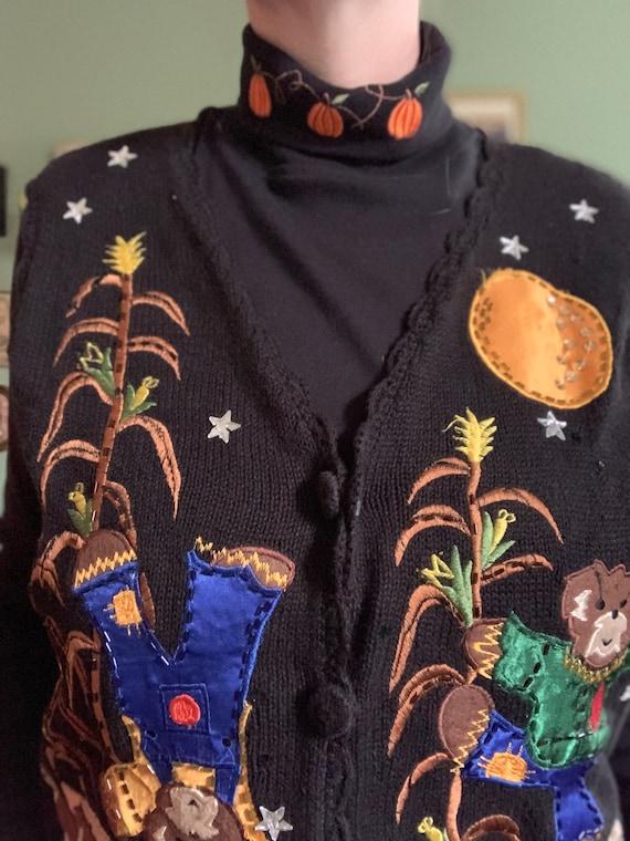 Vintage pumpkin embroidered turtleneck by Bobbie B