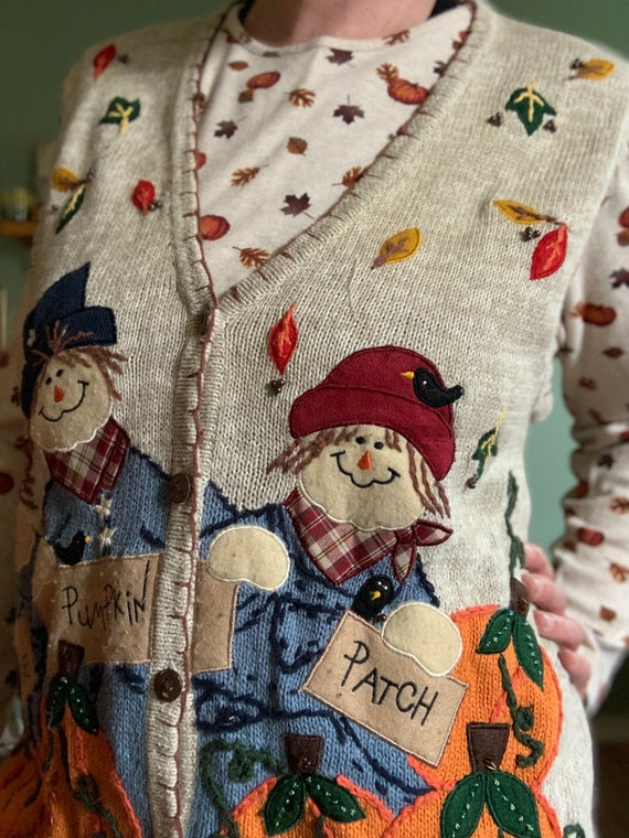 Scarecrow fall pumpkin patch sweater vest by Whit… - image 7