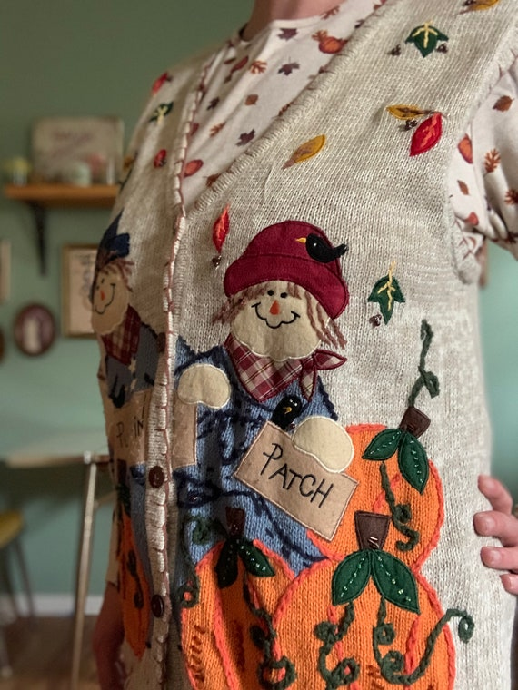 Scarecrow fall pumpkin patch sweater vest by Whit… - image 4