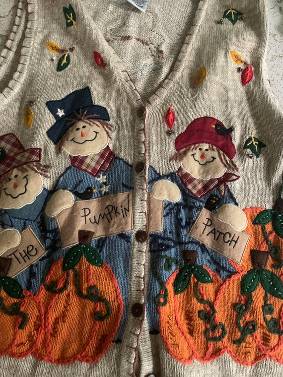 Scarecrow fall pumpkin patch sweater vest by Whit… - image 5