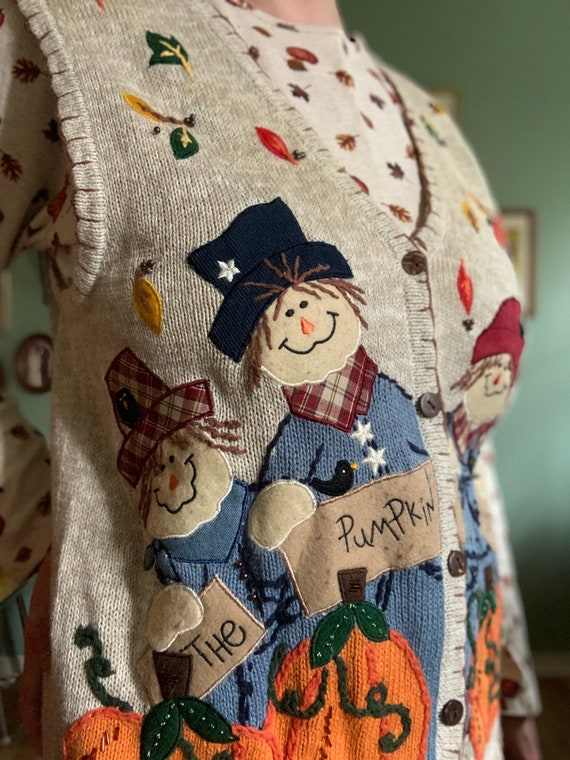 Scarecrow fall pumpkin patch sweater vest by Whit… - image 3