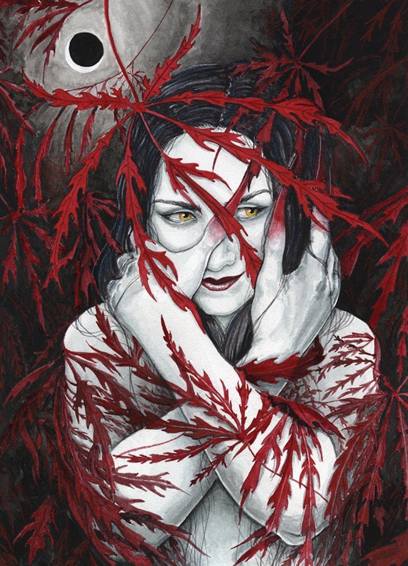 Unseelie Maple Fairy  Gothic Fae Art Print  Fantasy image 0