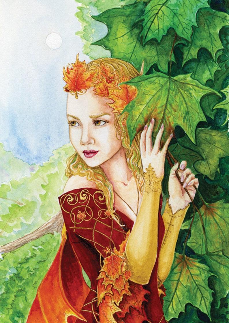 Seelie Maple Fairy  Autumn Fae Queen  Fantasy Illustration image 0