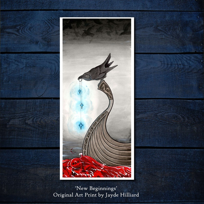 New Beginnings Original Illustration Art Print  Norse Viking image 0